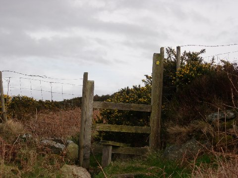 Stile showing the Way Mark. In this case Yellow arrow for footpath