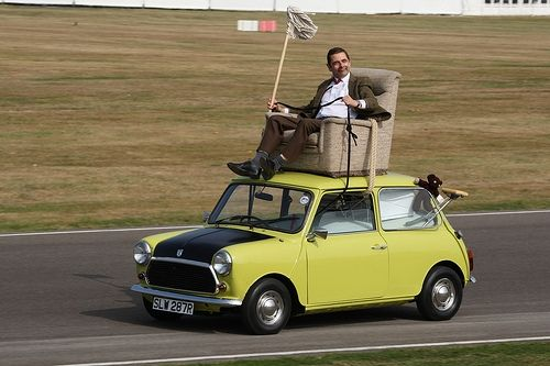 mr bean with his car