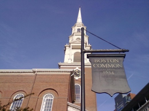 Boston Common 1634 and Park Street Church Tower