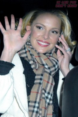 A Burberry scarf is practically Katherine Heigl's trademark