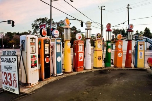 Old Gas Station Pumps On Display - Vintage Gas PumpsOld Gas Station Pump