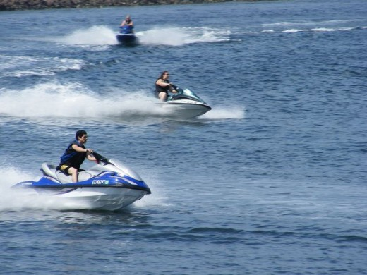 Jet skiers having a good time in Mission Bay.