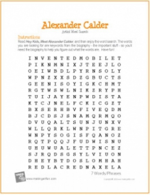 Alexander Calder Word Search Worksheet
