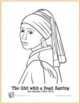 girl with the pearl earring coloring page