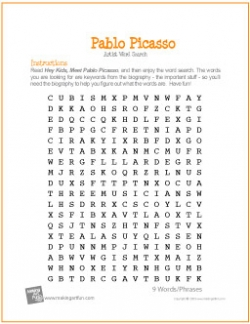 picasso-word-search-worksheet
