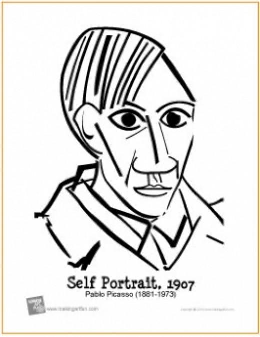 Picasso Self Portrait Coloring Page