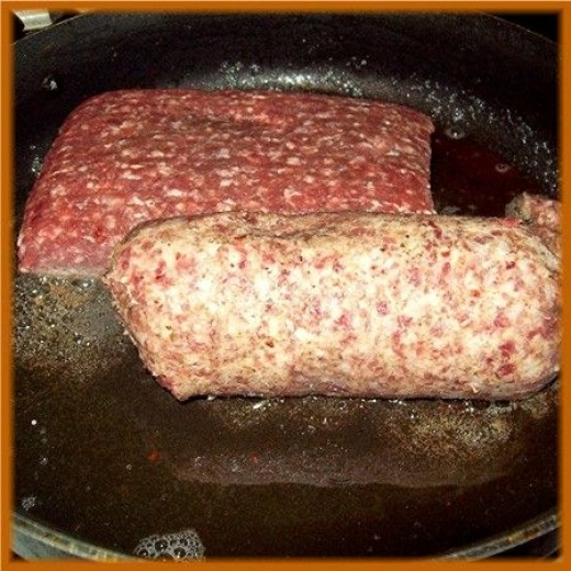 Then Brown a pound each of ground beef and hot sausage