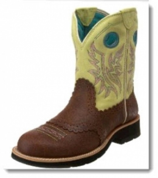 Women's Ariat Fatbaby Cowgirl Boot - Roughed Cognac/Fresh Lime