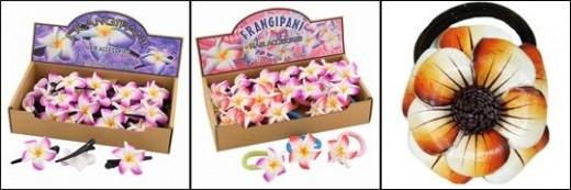 Tropical Pin Up Girls Plumeria Frangipani Flower Hair Clips