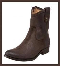 Frye Melissa Button Short Boot - Dark Brown