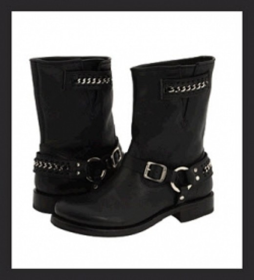 Frye Womens Motorcycle Boots - Jenna Chain Short Boot
