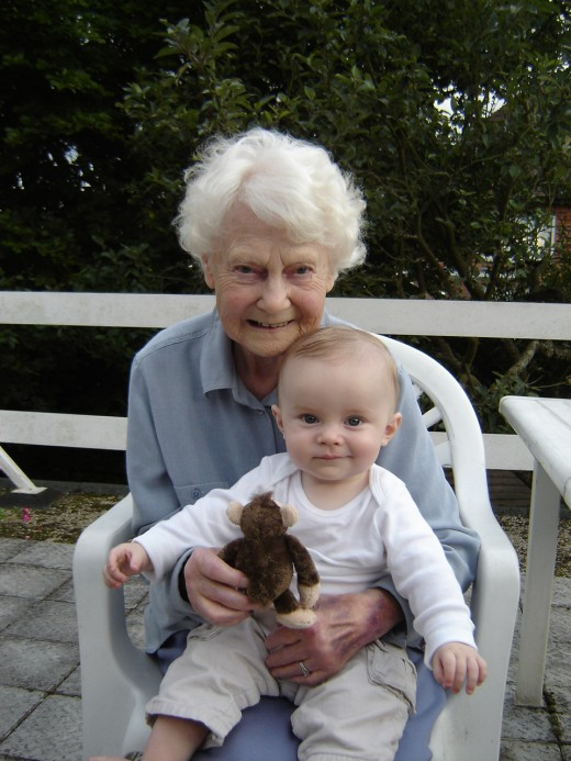 My Mum aged 89 with Great Grandson Alex