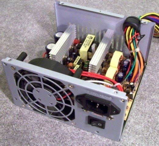 Ever wonder what a power supply looks like on the inside? Here is a photo of a power supply with the top plate removed.
