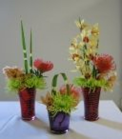 These are some arrangements I made for a college event using cymbidium orchids, green fuji mums and pincushion protea. Because it was an art school, the arrangements needed to be colorful and a bit unusual.