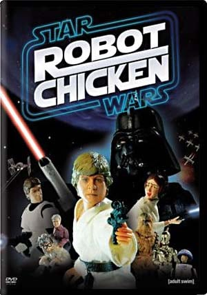 Robot Chicken Star Wars DVD: Image source - http://en.wikipedia.org/wiki/File:Starwarsrobotchicken.jpg  Used under low resolution non-free fair use rationale.