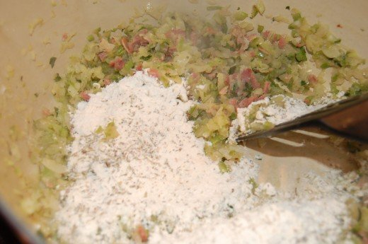 Making a Roux by adding Flour, Herbs and Garlic Powder