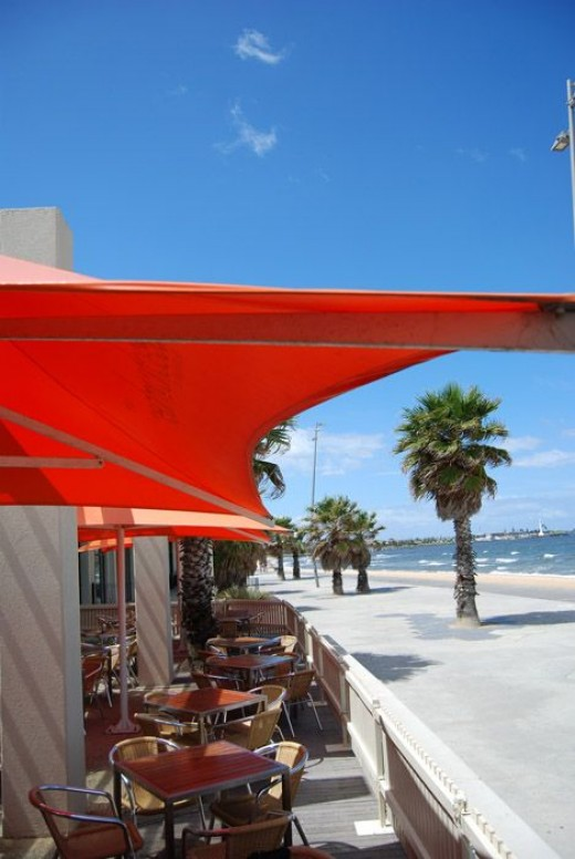 The cafe fronts onto the St Kilda boardwalk which is prime people watching real estate