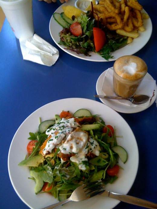 Lunch: Tandoori Chicken Salad and Crumbed Calamari