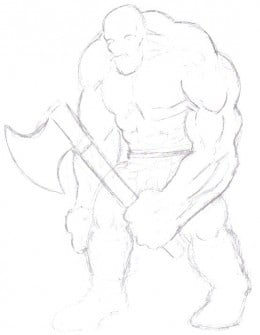 The first initial draft sketch of your ugly looking troll takes shape, feel free to take your time with it though!