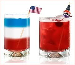 """Bartending is an """"art""""...(red-blue-white cocktails)"""