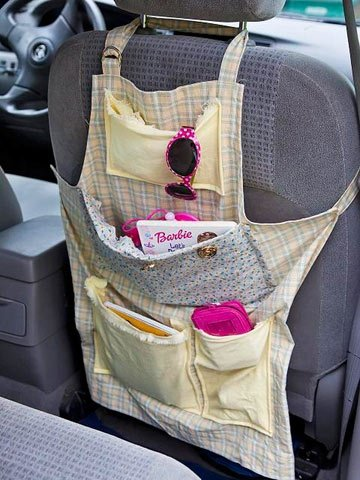 Recycle an old apron into a car organizer