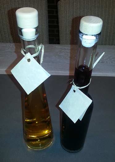 Typical Sodrazica products: honey liqueur and blueberries liqueur