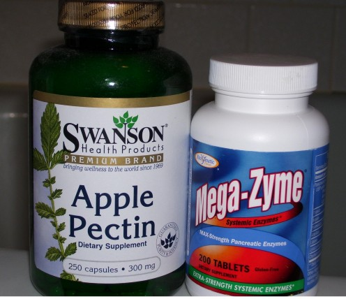 APPLE PECTIN is a good fiberous agent and helps absorb and eliminate various toxins from the intestinal system. This MULTI-ENZYME is a capsule and one of my favorite supplements.