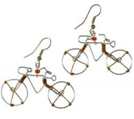 Fair-trade bicycle earrings
