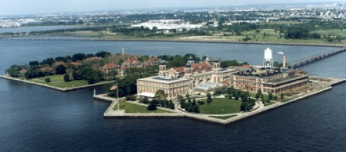 Ellis Island is closer to the New Jersey shore but officially within New York State.