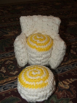 Doll Chair and Footstool