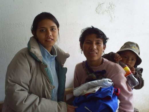 Donating clothing to the indiginous people in Peru