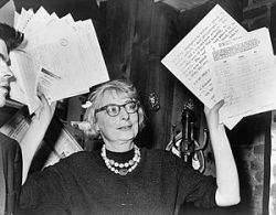 Jane Jacobs, then chairperson of a civic group in Greenwich Village, at a press conference in 1961.