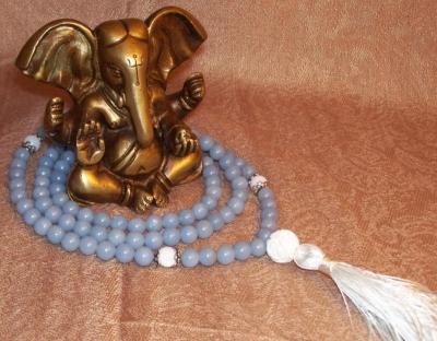 Angelite & Mother-of-Pearl Mala - Throat Chkra Healing