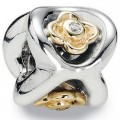 Silver Charm with Gold Posey of Flowers