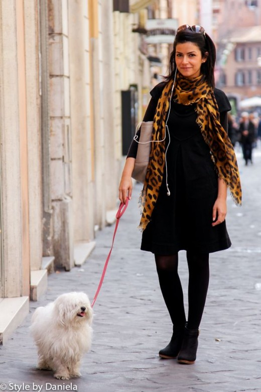 Black skirt with leopard scarf shows good taste in street fashion.