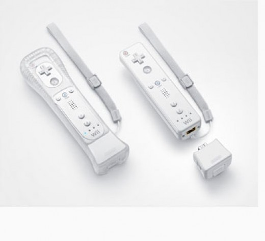 The Wiimote with the MotionPlus attached.