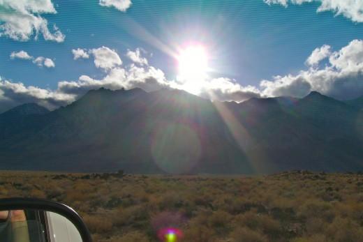 The sun setting over the Sierra Nevada