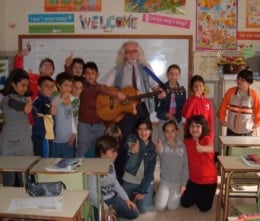 Bard of Ely and the children in the English classroom