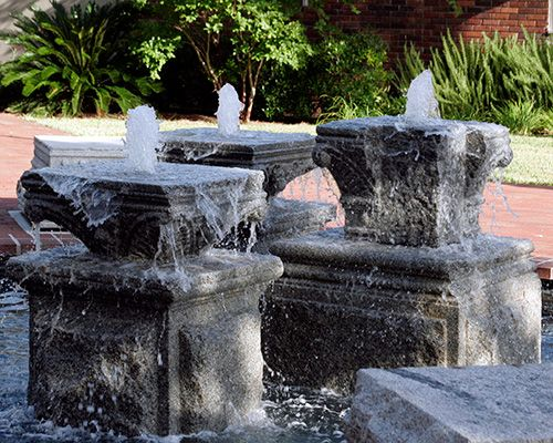 These fountains were built from old buildings torn down in Brunswick years ago. They are located in a square downtown so that everyone can enjoy them.