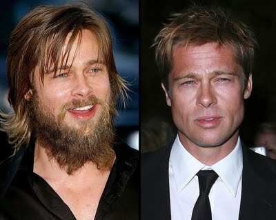 Brad Pitt looks like the caveman commercial!