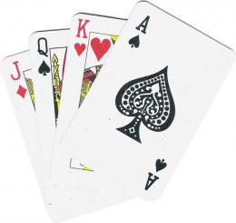 Texas Hold'em uses a standard, five card deck.