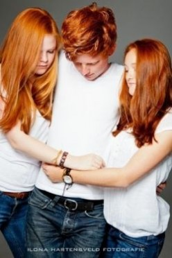 three redheaded juveniles