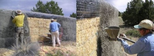 Spraying render on a straw bale fence