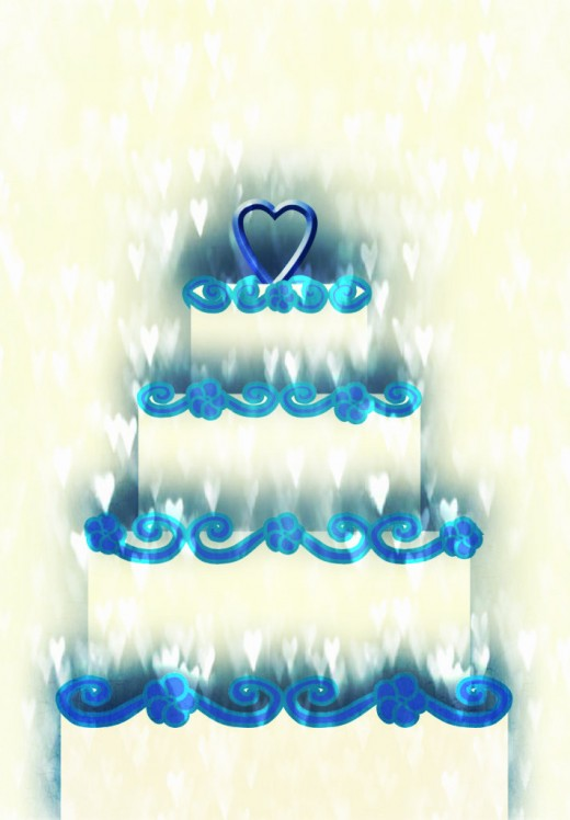 Wedding Cake With Hearts Clipart