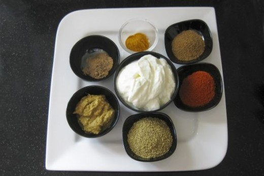 spices and yoghurt for chicken masala curry