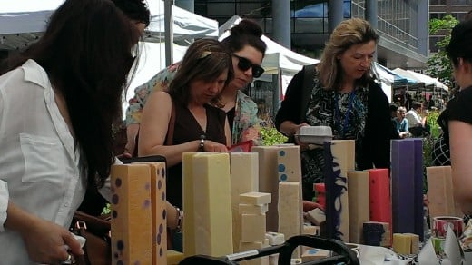 Soap displays are a major attraction at the Winnipeg Farmers Market