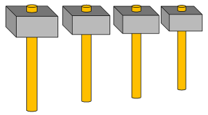 Pythagorean hammers (Public domain image from Wikimedia Commons)