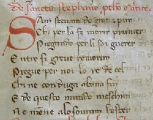 Fragment of the manuscript by the 'Genoese Anonymous' (13th century, kept at the Municipal historical archive, Genoa)