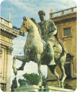 The statue of Marcus Aurelius on his horse in Rome.