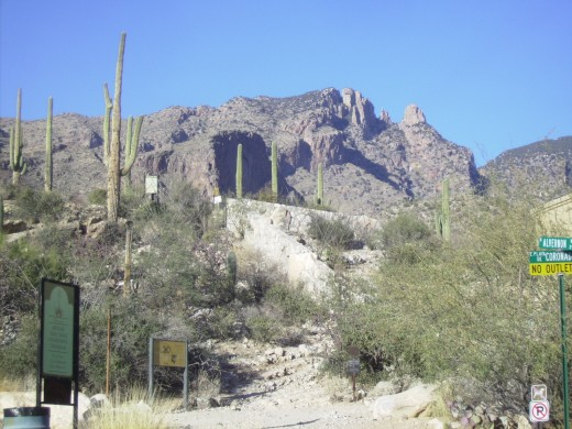 Start of Finger Rock Trail in Tucson, AZ. Finger Rock is just to right of peak on the left.